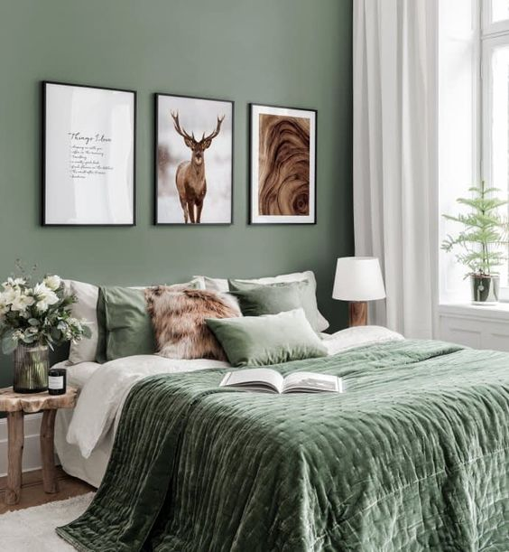Trend Green Forest Bedroom Decor Ideas